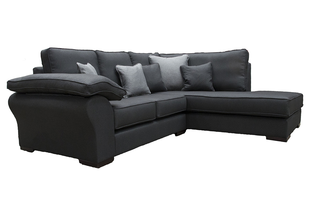 Atlas 2 Seater Corner Chaise Sofa  in Ross Dundee Ebony 13618, Silver Fabric Collection