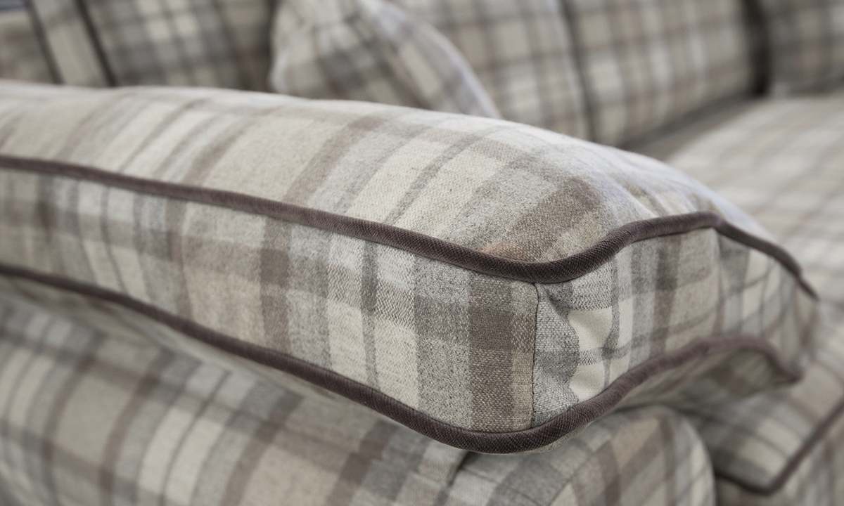 Arm details in Country Plaid Earth Platinum Fabric Collection