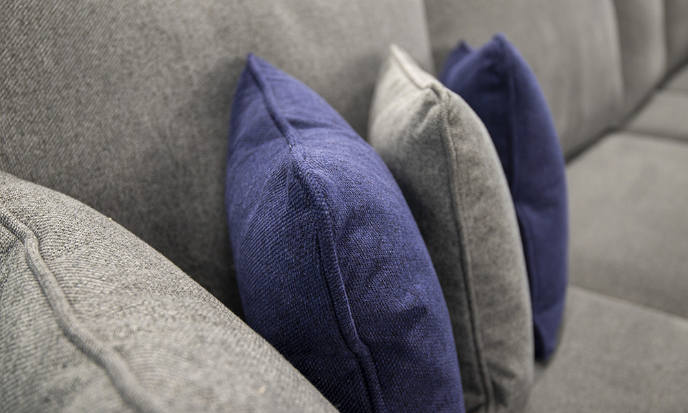 Cushion Detail in Soho Navy & Dark Grey, Silver Collection Fabric