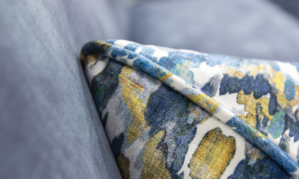 Cushion Detail in Monet Winter, Platinum Collection Fabric