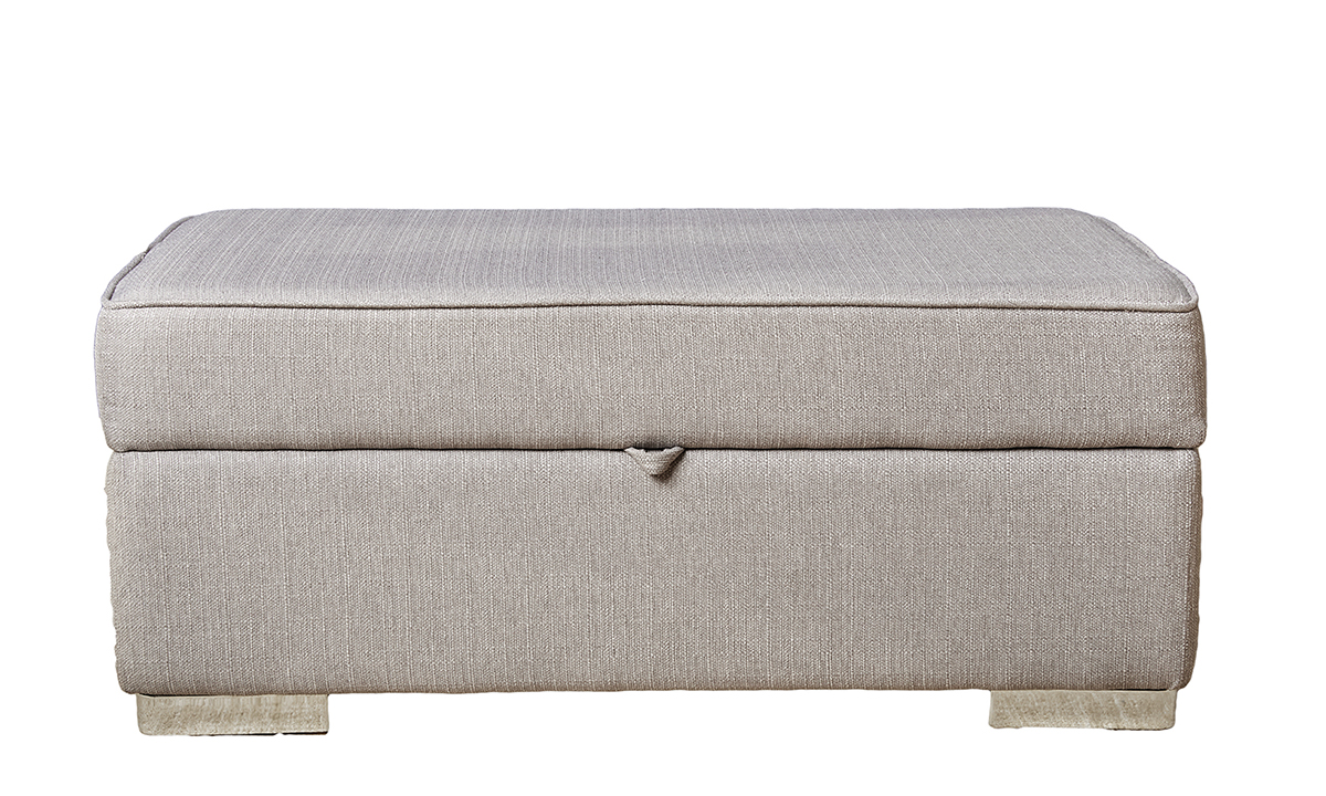 Atlas Storage Footstool in Aosta Silver, Silver Collection Fabric