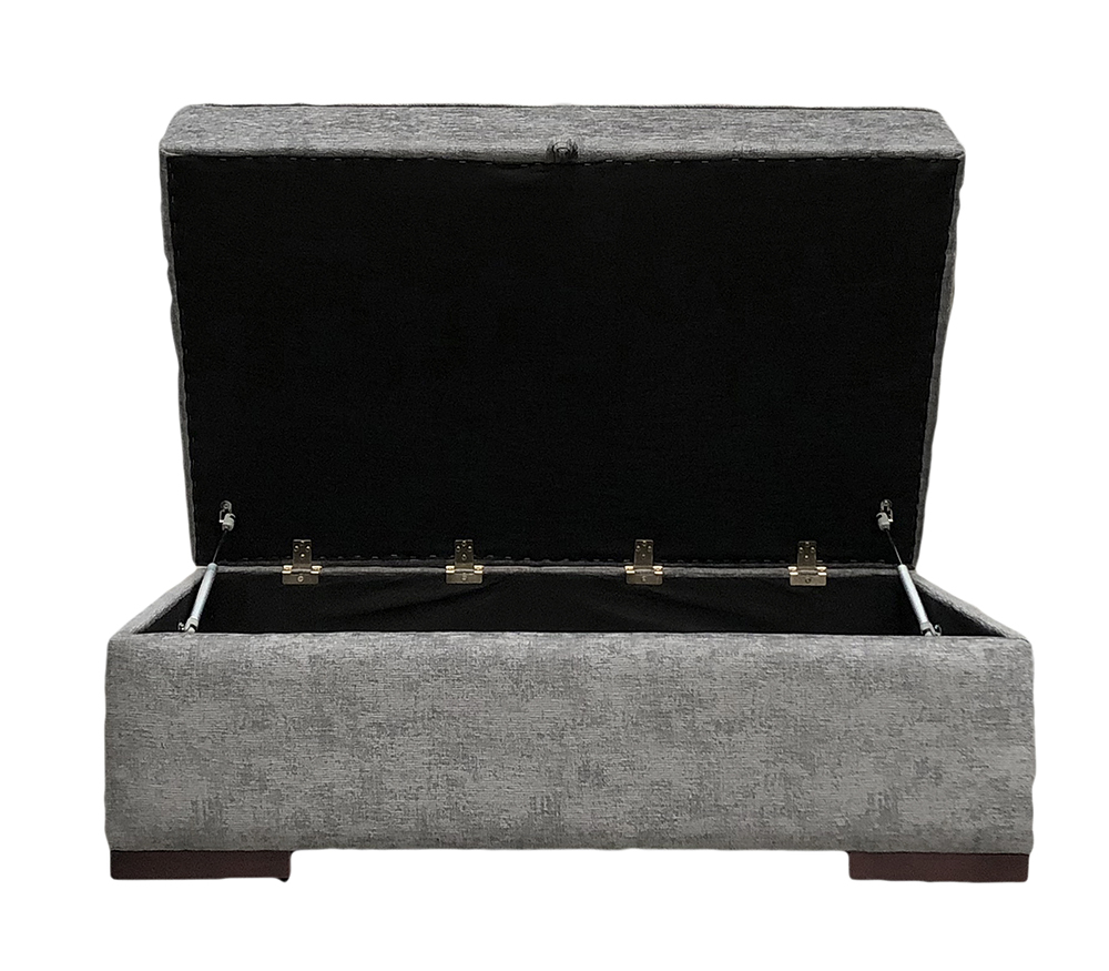 Atlas Storage Footstool Dagano Plain Noir Bronze Collection Fabric