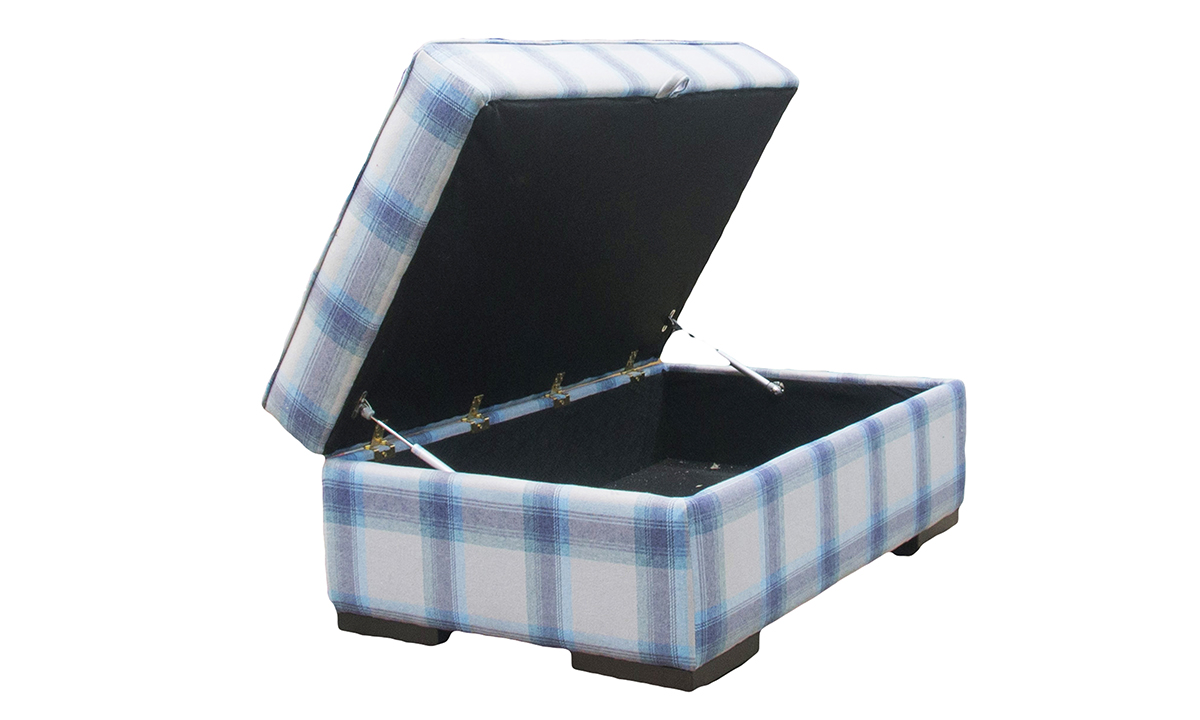 Atlas Storage Island in Aviemore Plaid Wedgewood, Silver Collection Fabric