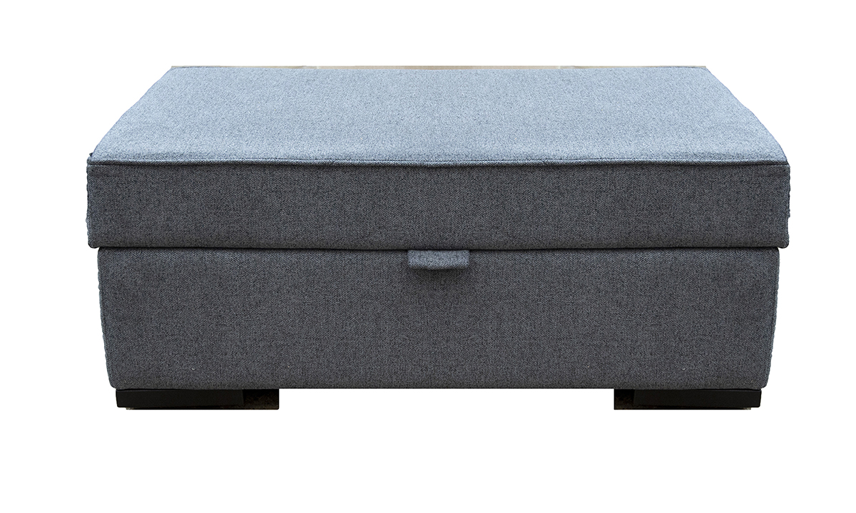 Colorado Storage Footstool in Soho Blue, Silver Collection Fabric