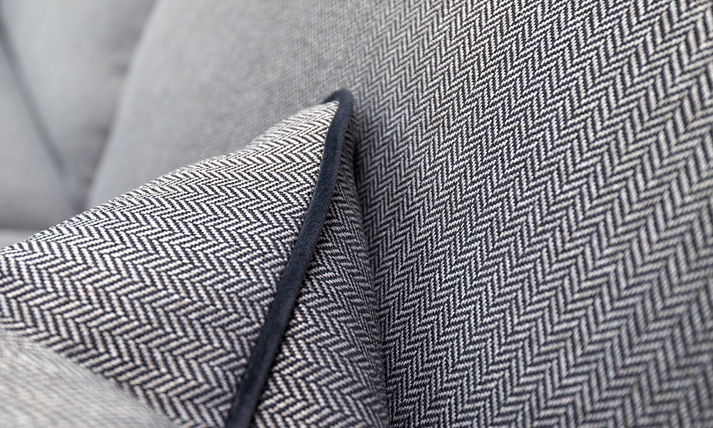 Scatter Cushion Detail in Porto Charcoal, Contrast Piped in Luxor Tempest, Silver Collection Fabric