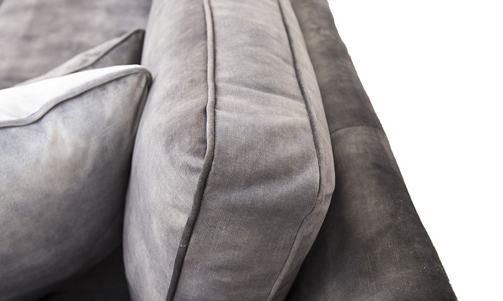 Back Cushion Detail in Lovely Asphalt, Gold Collection Fabric