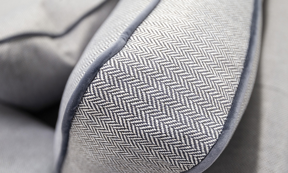 Back Cushion Detail in Porto Charcoal, Contrast Piped in Luxor Tempest, Silver Collection Fabric