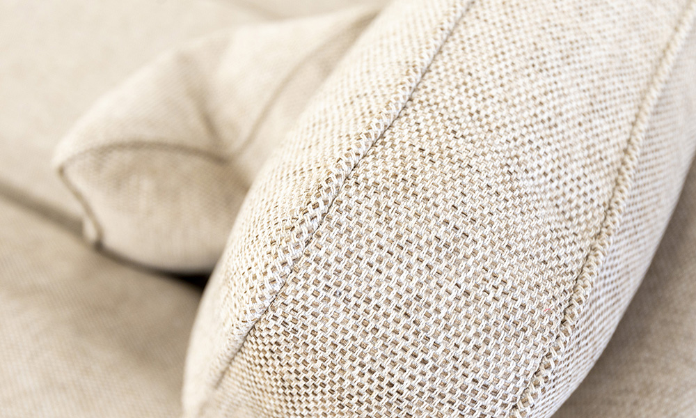 Back Cushion Detail in Bravo Sand, Silver Collection Fabric