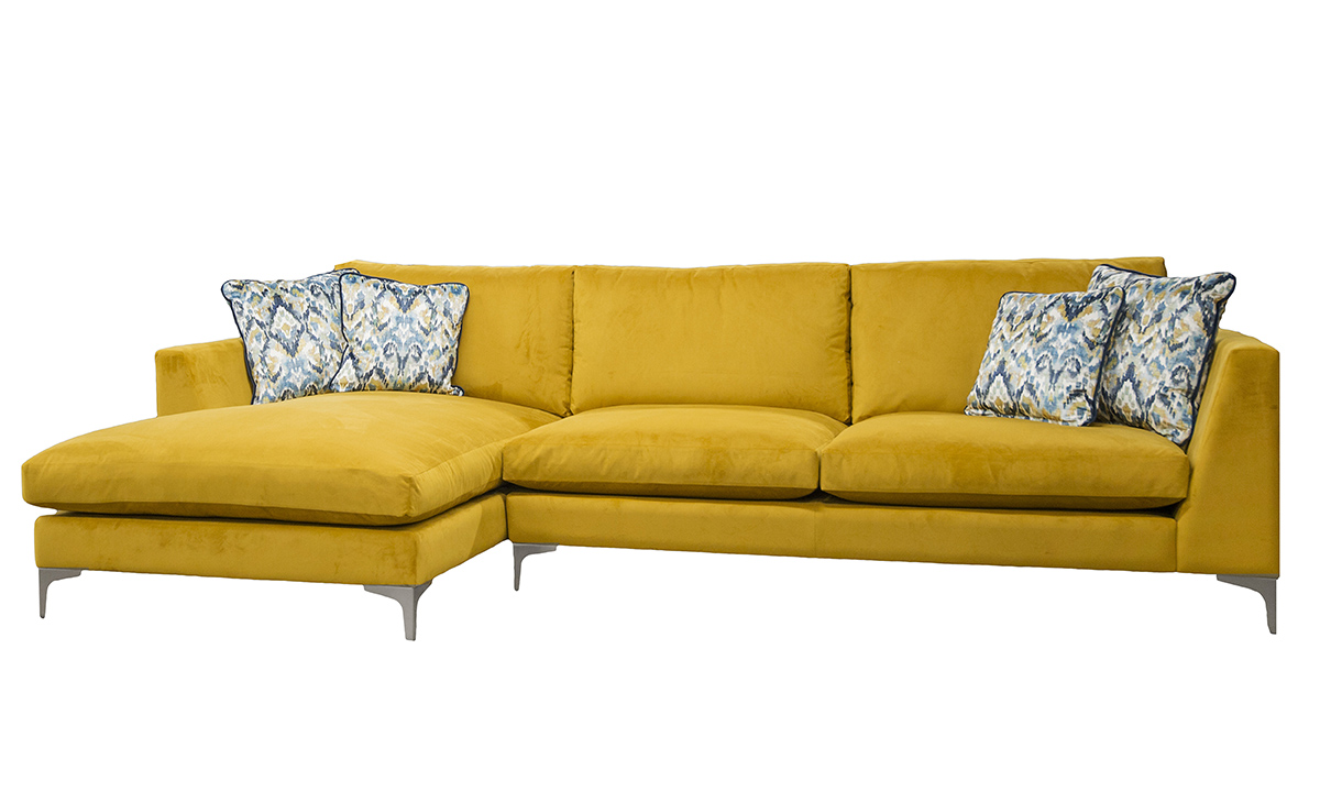 Baltimore 3 seater lounger, in Plush Turmeric Gold Collection Fabric