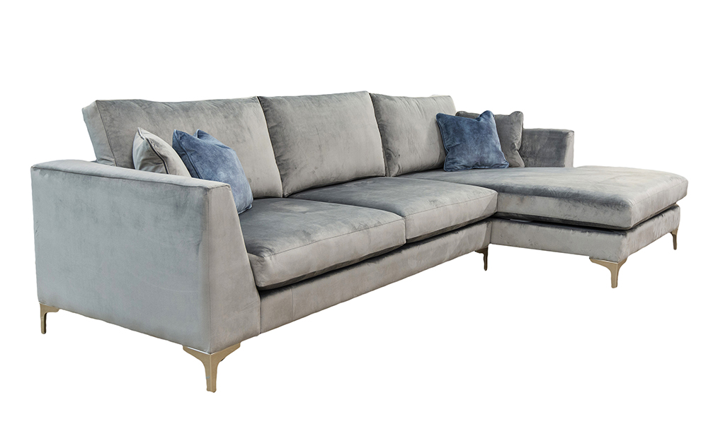 Baltimore Large Lounger, in Luxor Dolphin, Silver Collection of Fabrics