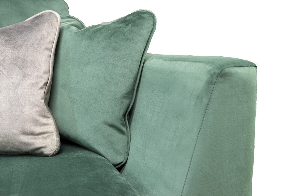 Baltimore 3 Seater Sofa Arm Detail in Plush Hunter, Silver Collection Fabric