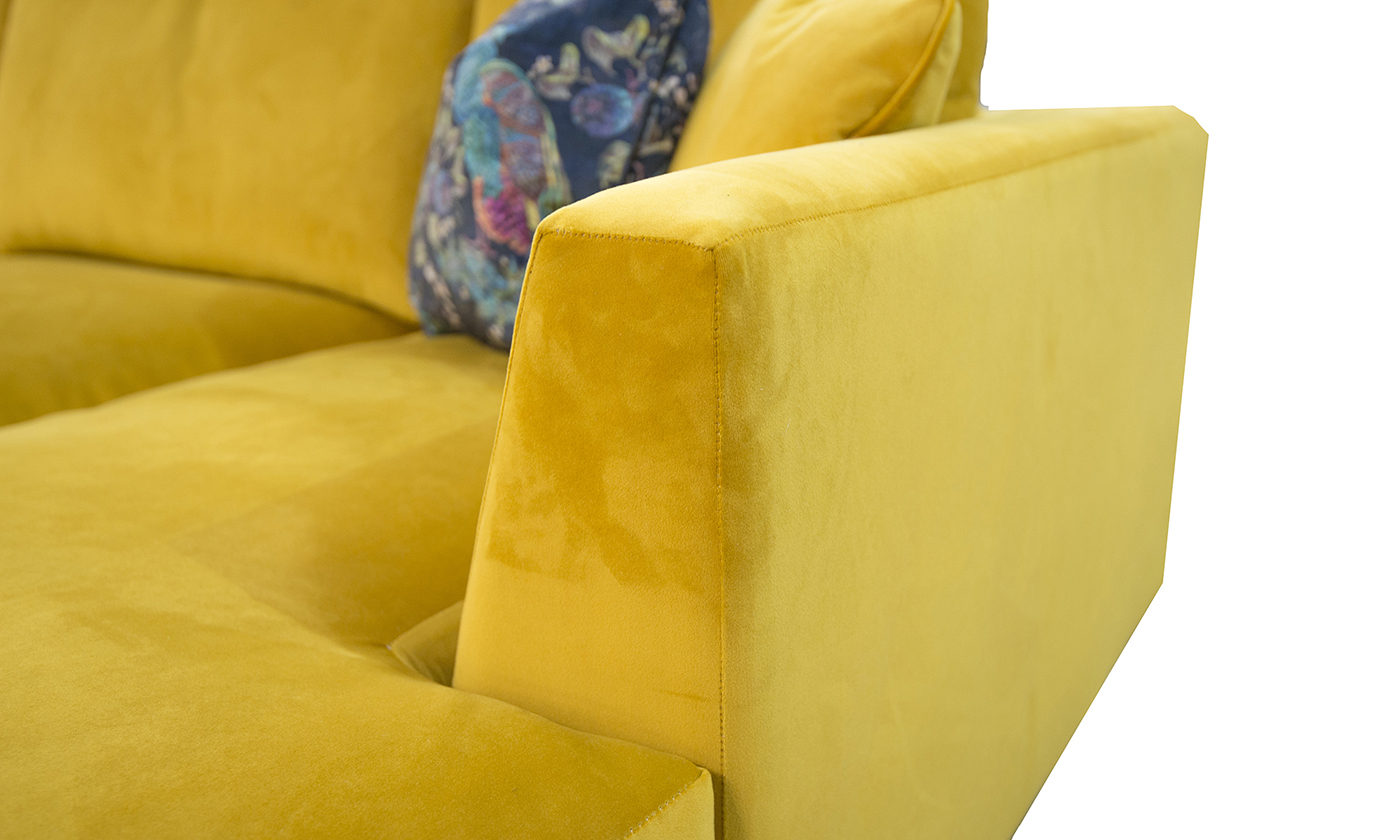 arm Detail in Warwick Plush turmeric, Silver Collection Fabric