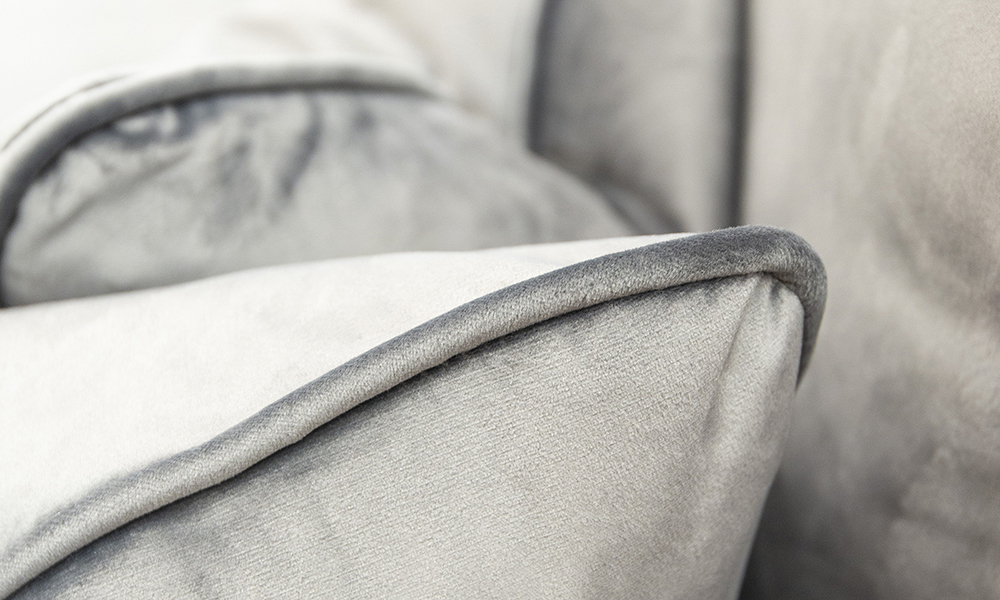 Cushion Detail in Luxor Dolphin, Silver Collection of