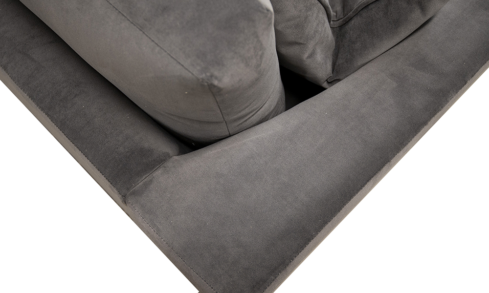 Back Detail in Warwick Plush Asphalt, Silver Collection Fabric