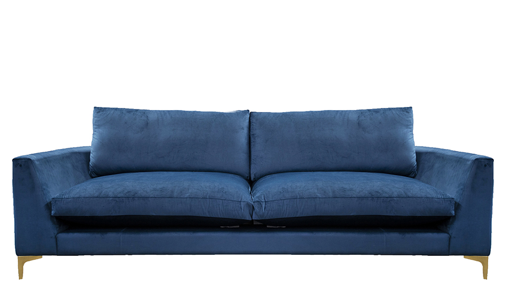 Baltimore 3 Seater  Sofa, with Fibre Filled Cushions, Luxor Pacific,  Silver Collection Fabric