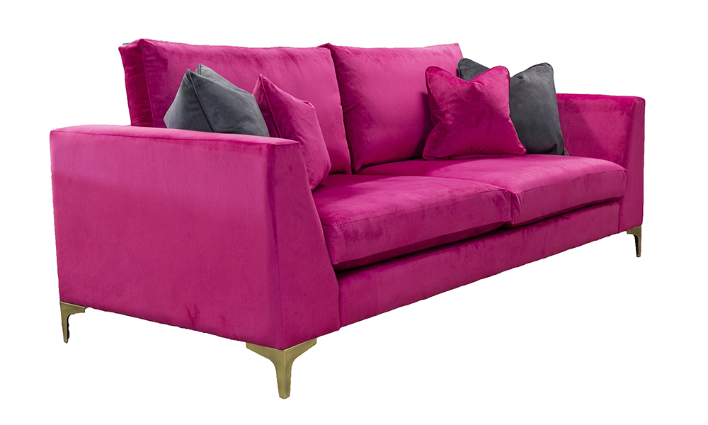 Baltimore 3 Seater Sofa in Luxor Cerise, Silver Collection Fabric