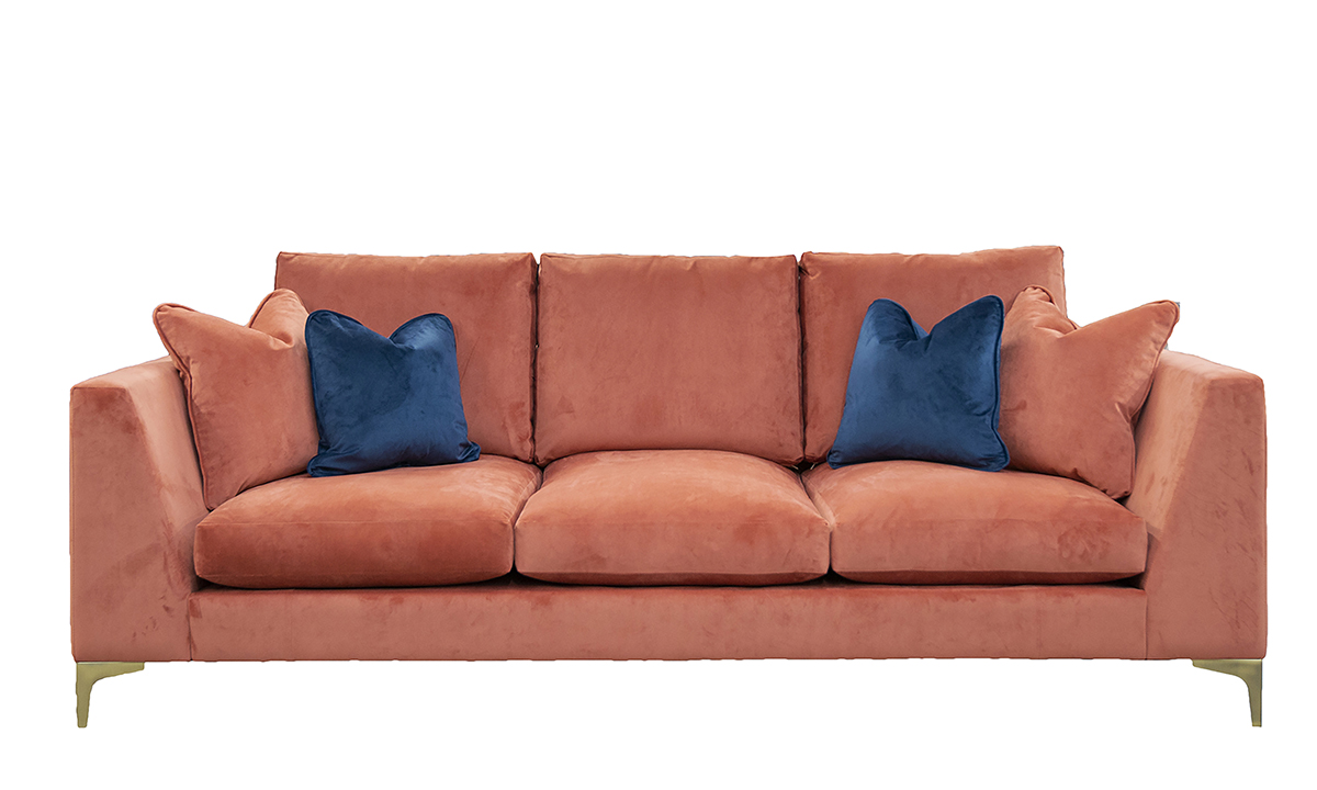 Baltimore Bespoke Sofa in Lovely Coral, Gold Collection Fabric