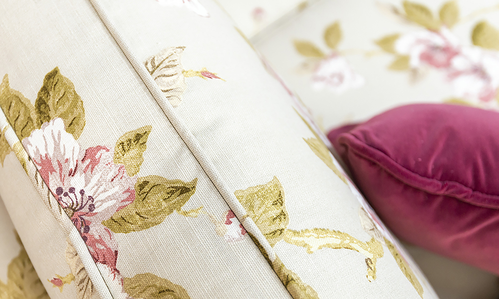Clare 2 Seater Sofa Back Cushion Detail  in Customers Own Fabric