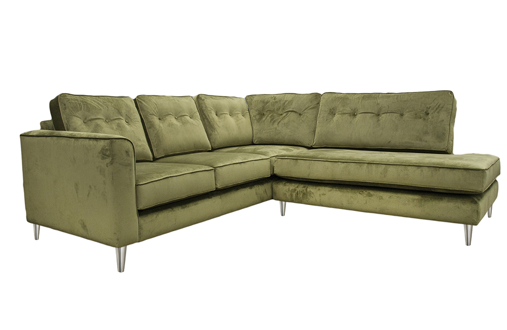 Bespoke Boland Corner Chaise Sofa in Luxor Artichoke, Silver Collection Fabric