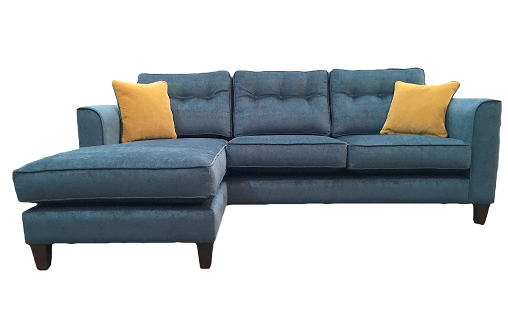 Boland 3 Seater Chaise End Sofa Edinburgh Petrol , Silver Fabric Collection