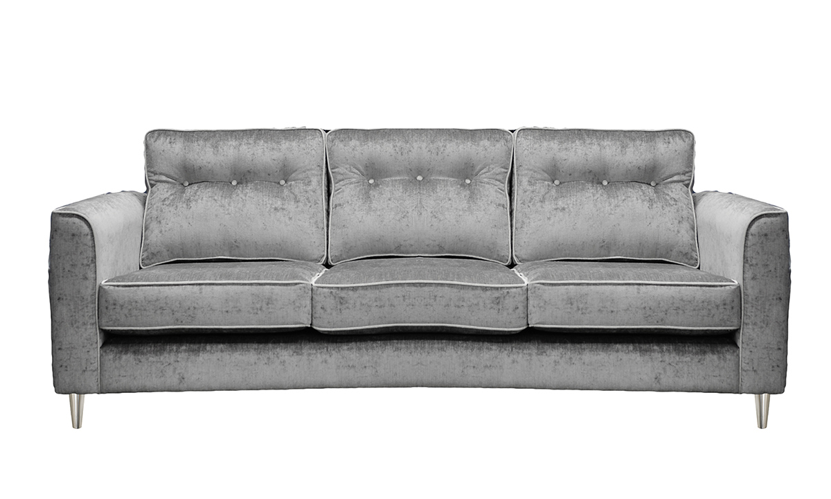 Boland 4 Seater Sofa in Edinburgh French Grey, Silver Collection Fabric