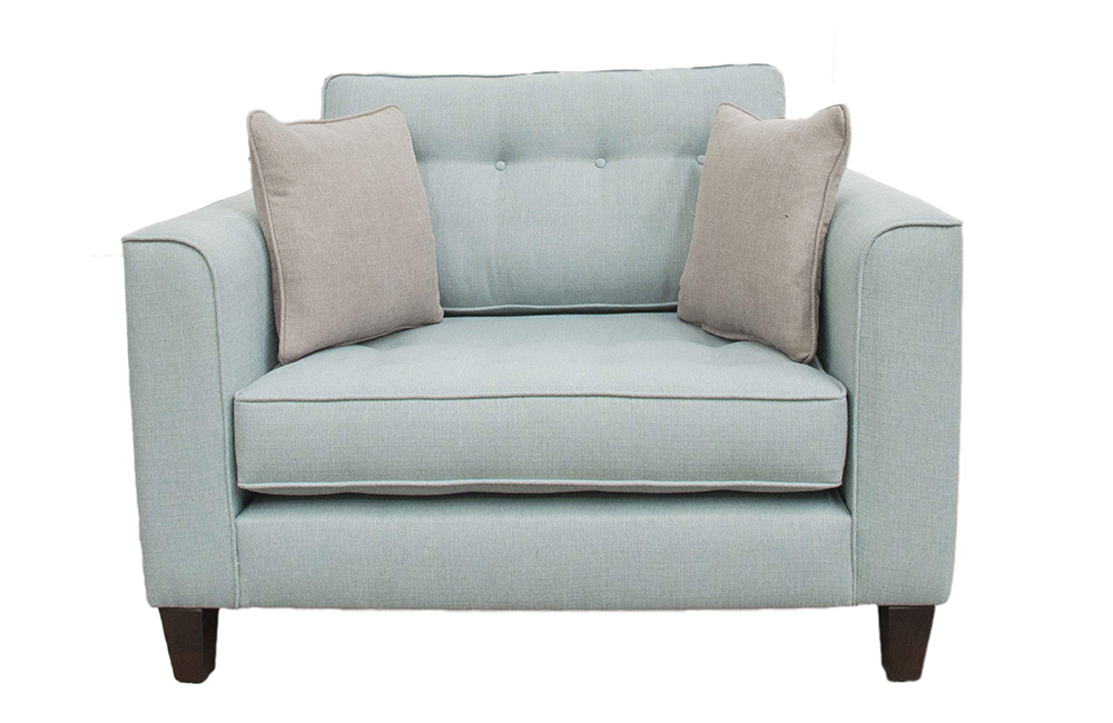 Boland Love Seat in Aosta Duck Egg,  Silver Collection Fabric