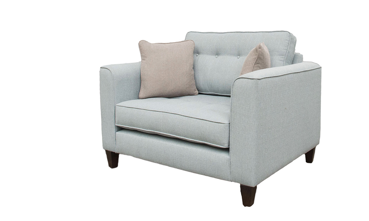 Bespoke Boland Love Seat in Aosta Duck Egg, Silver Collection Fabric