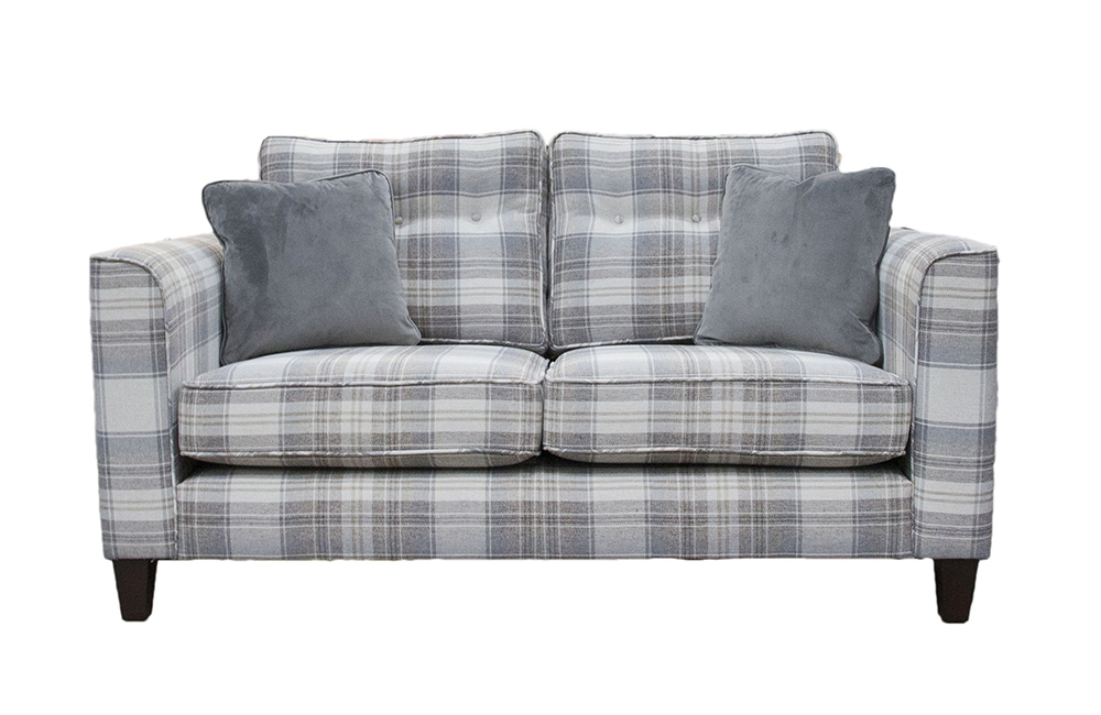 Boland Small Sofa IN Aviemore Plaid Linen , Silver Collection Fabric