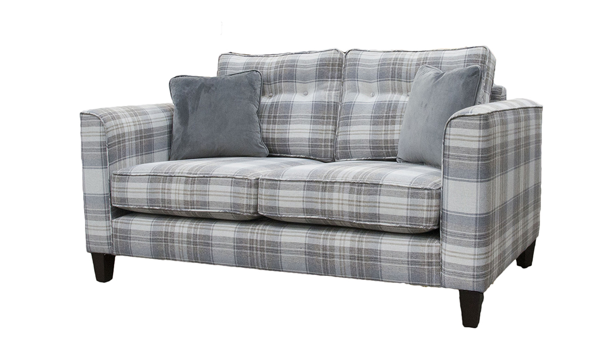 Boland Small Sofa in  Aviemore Plaid Linen, Silver Collection Fabric