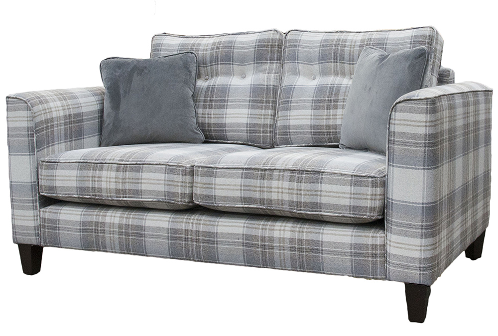 Boland Small Sofa Side - Aviemore Plaid Linen - Silver Collection