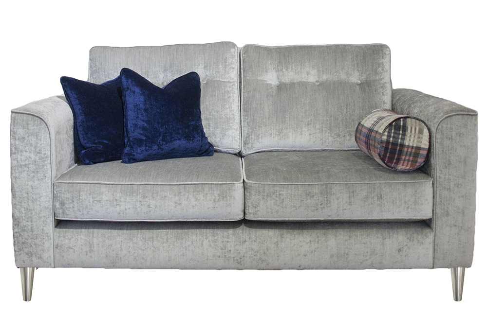 Boland Small Sofa in Mancini Pewter, Gold Collection Fabric