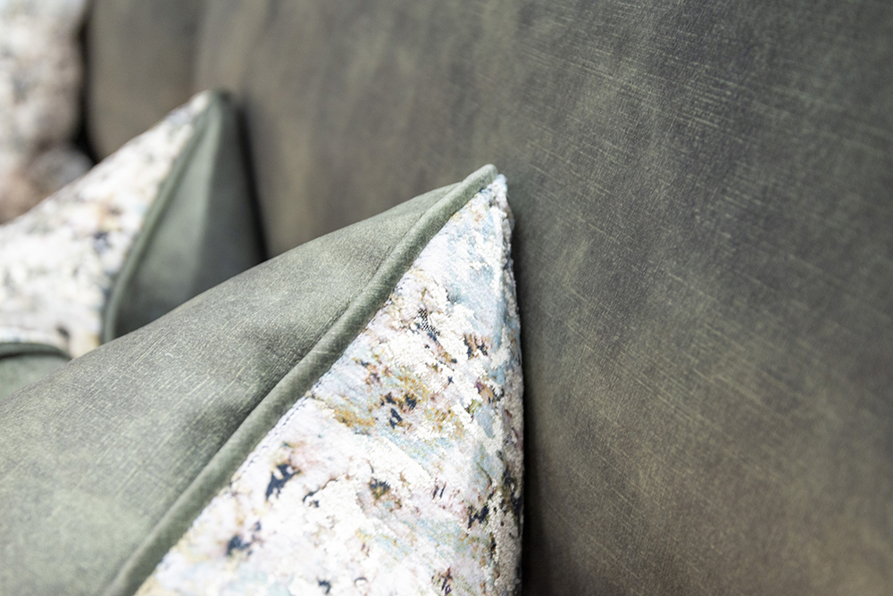 Capella Scatter Cushion in Igloo Ocean, Platinium Collection Fabric & Lovely Jade, Gold Collection Fabric