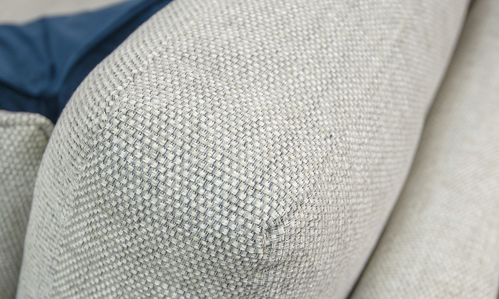 Back Cushion Detail, Bravo Cream Linen, Silver Collection Fabric