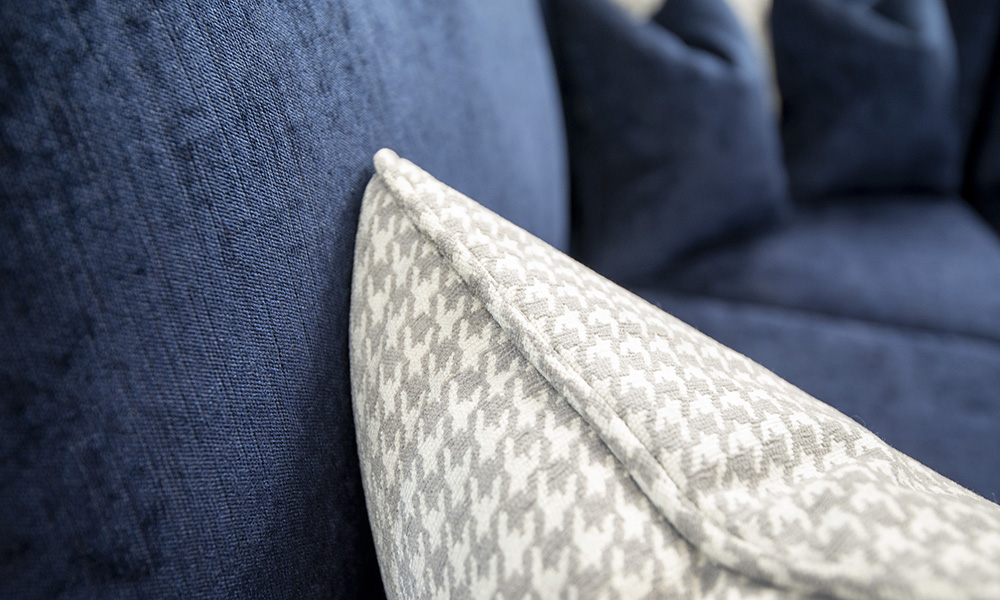 Cushion Detail, Poppy Grey, Silver Collection Fabric