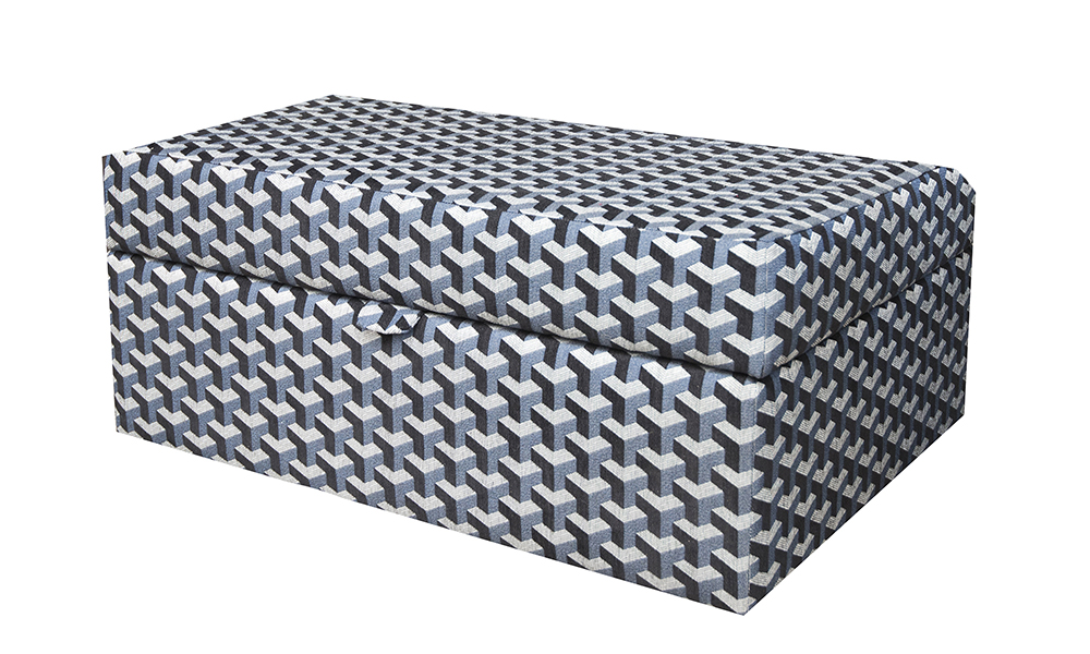Como Storage Island in Levonne Navy, Silver Collection Of Fabrics