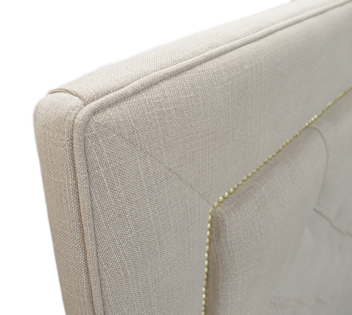 Bespoke Coolmore Headboard Close Up in 15014 Bronze Fabric Collection