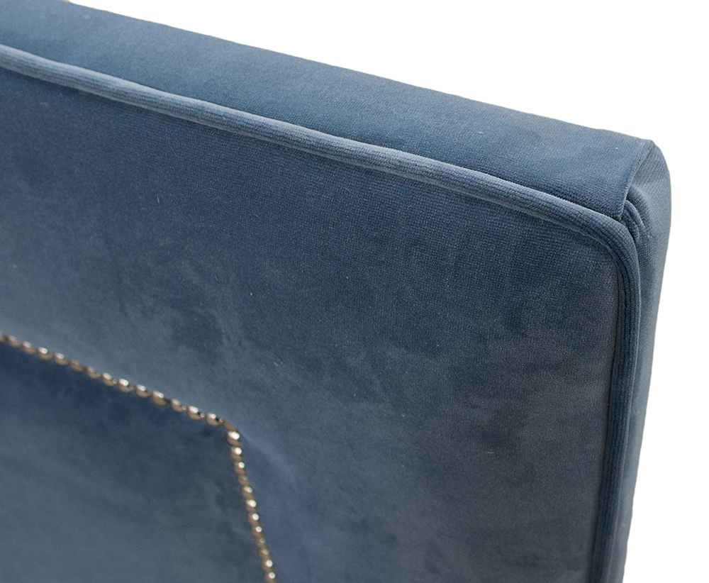 Coolmore 5ft Chrome Stud Headboard Detail - Monza 14829 Sapphire.