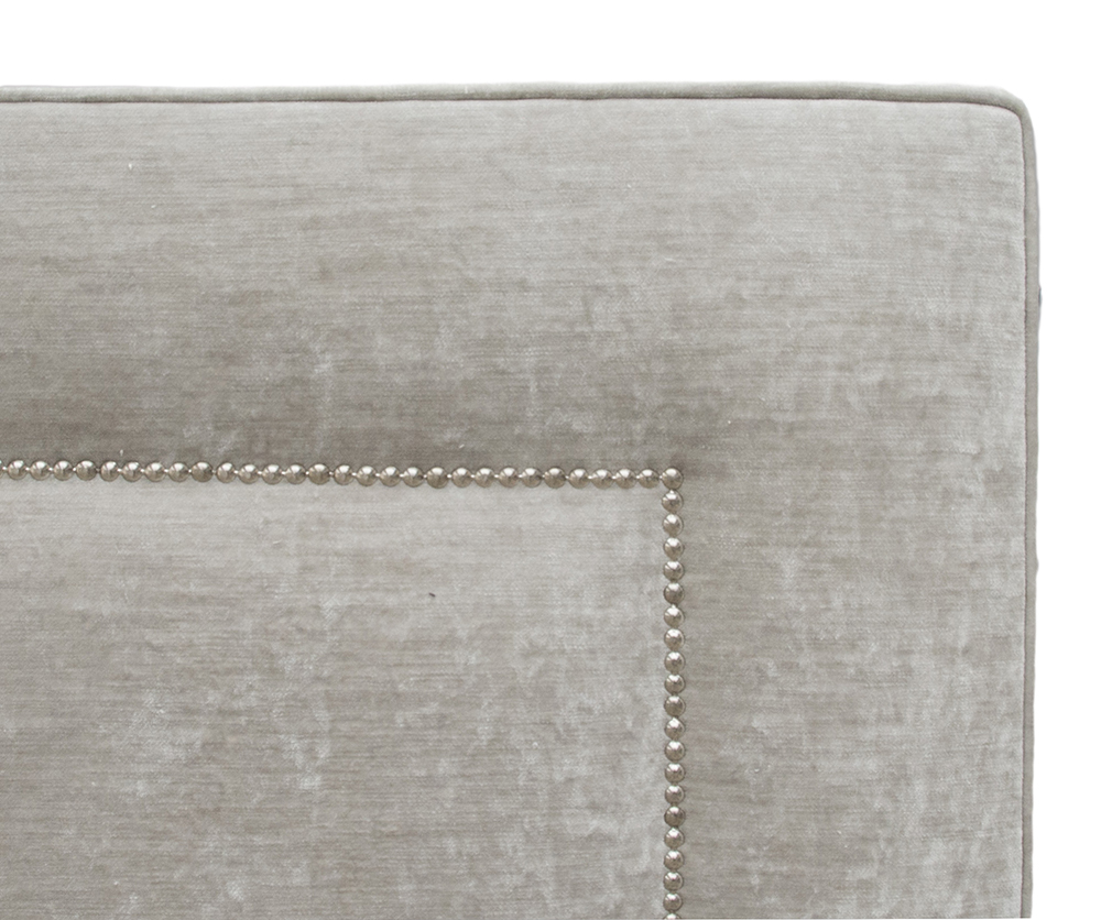 Coolmore 6ft Headboard Chrome Studding Detail - Modena 15115 Fossil