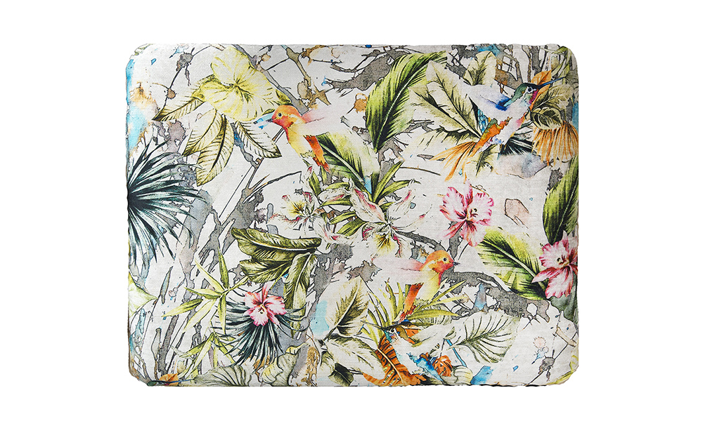 Costa-Footstool-top-view-in-Paradise-Multi-Platinum-Collection-Fabric