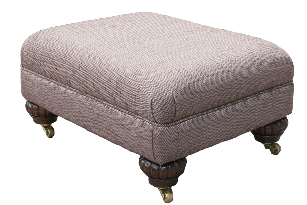 Costa Footstool in Lenora Grape Silver Collection  Fabric