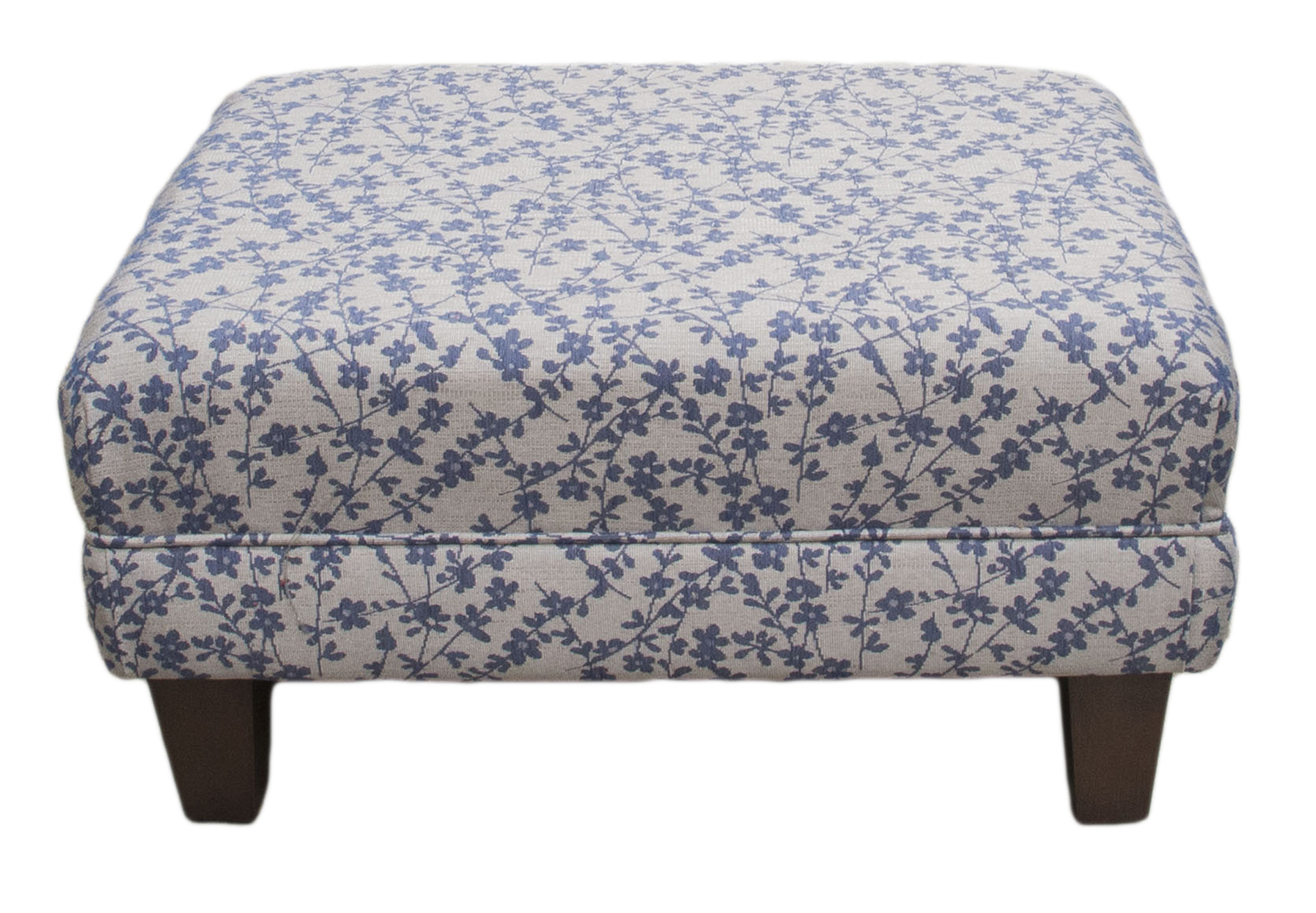 Costa Footstool in Kwint Navy Silver Collection Fabric