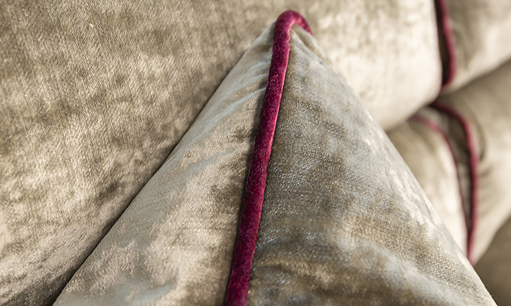 Cumbria Scatter Cushion in Edinburgh Biscuit, Silver Collection Fabric.