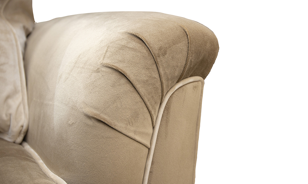 Cumbria-Small-Sofa-arm-detail-in-Luxor-Tobacco-Silver-Collection-of-Fabrics