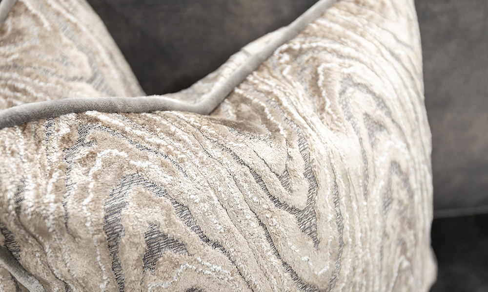 Scatter Cushion in Monaco Geometric Taupe Platinium Collection Fabric
