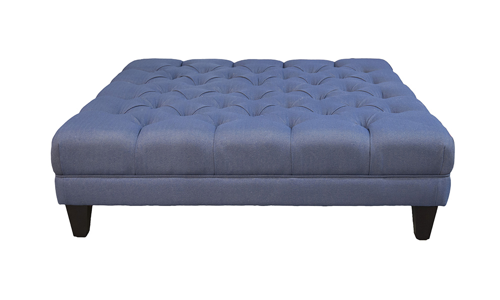 Deep Button Ottoman (Bespoke Size) in Dundee rs 13629 Herringbone, Silver Collection Fabric