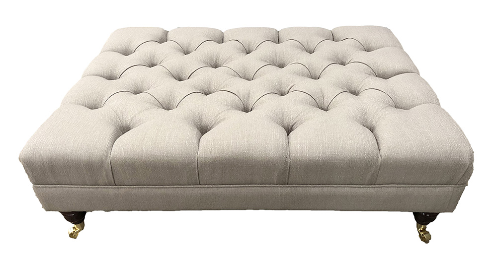 Deep Button Ottoman (Bespoke Size)  in  Aosta Putty Silver Collection Fabric