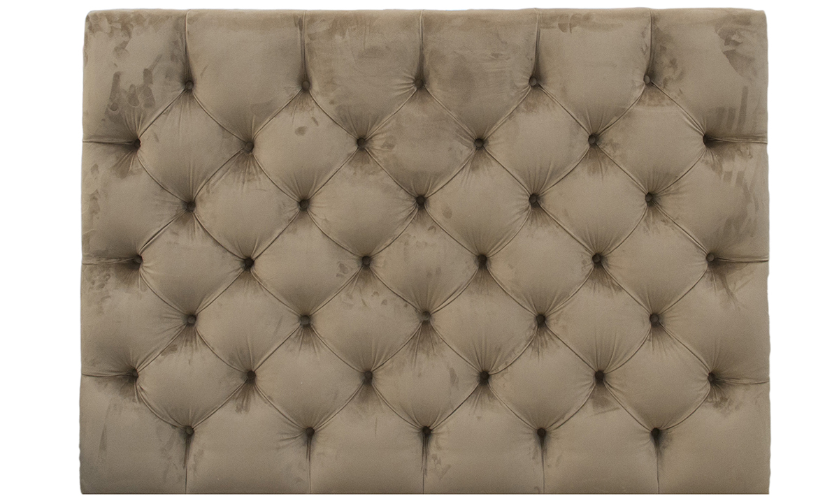 """4ft6"""" Deep Button Headboard in Luxor Tobacco, Silver Collection Fabric"""
