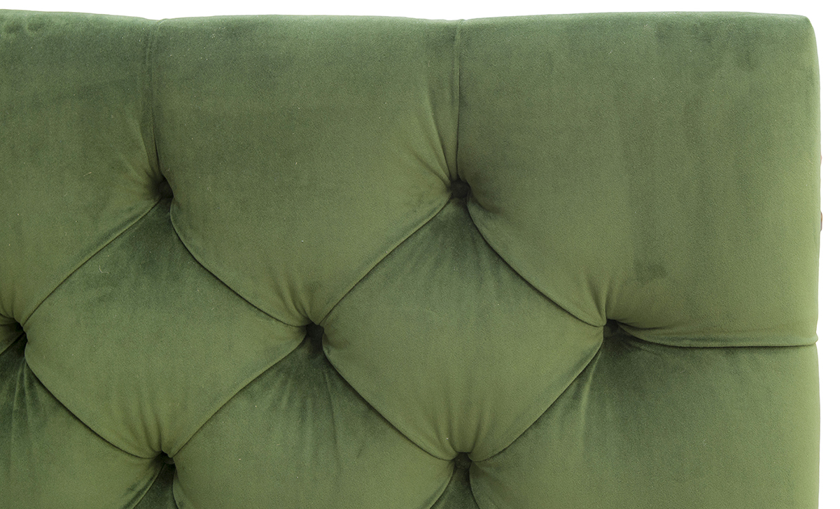Deep Button Headboard 6ft Close Up in Amalfi Forrest Platinum Fabric Collection