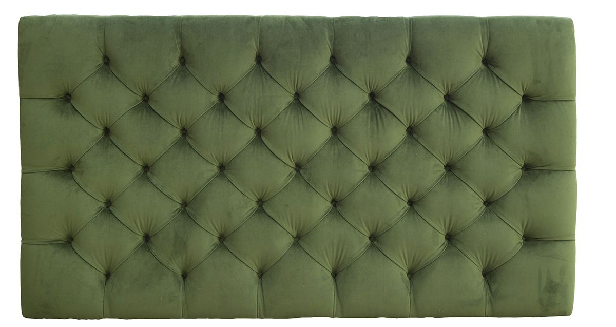 Deep Button Headboard 6ft in Amalfi Forrest Platinum Fabric Collection