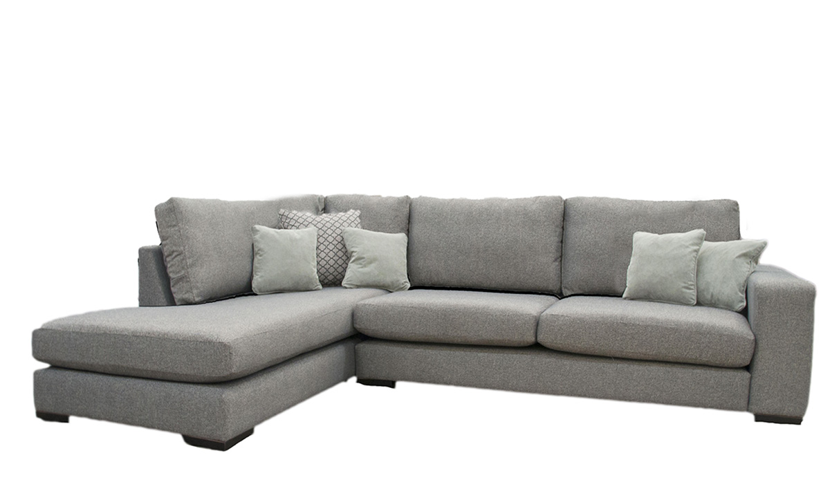 Denver Corner Chaise Sofa in a Bronze Collection Fabric